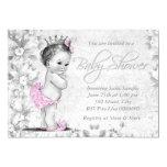 Schattig Vintage Roze en Grijs Baby shower Uitnodigingen
