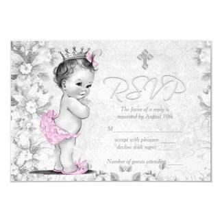 Schattig Vintage Roze en Grijs Doopsel RSVP 8,9x12,7 Uitnodiging Kaart