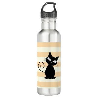 Schattige Capricieuze Zwarte Kat op Strepen Waterfles