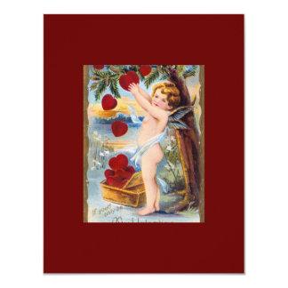 Schattige Cupido Valentijn - Wijnoogst! 10,8x13,9 Uitnodiging Kaart