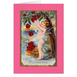 Schattige Cupido Valentijn - Wijnoogst! Wenskaart