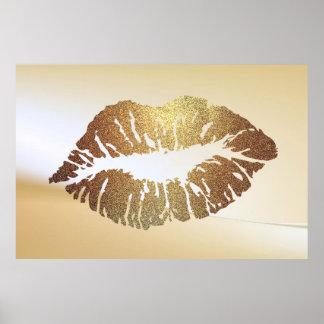 Schattige Glittery Lippen, Kus Poster