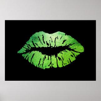 Schattige Groene Lippen, Kus Poster