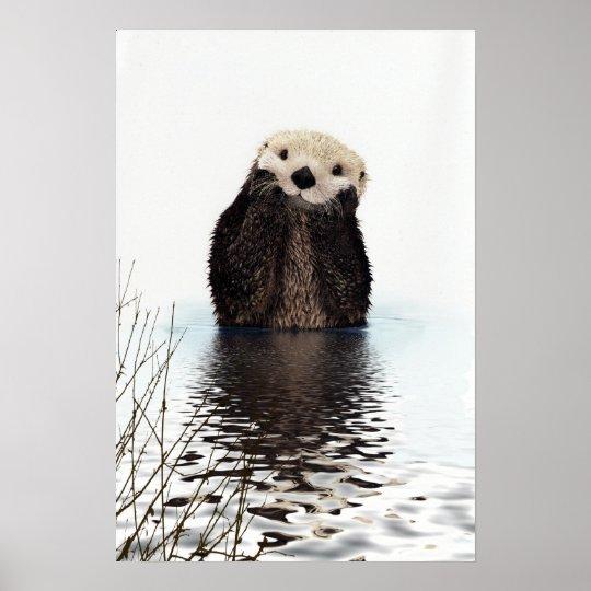 Schattige het Glimlachen Otter in Meer Poster