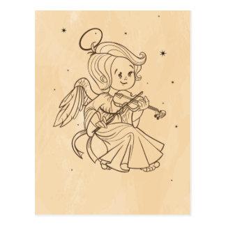 Schattige Kerst Baby Engel Die Viool Speelt Briefkaart