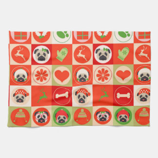 Schattige Pugs van Kerstmis op Rode, Groene Keukenhanddoeken