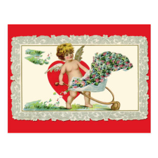 Schattige Vintage Cherubijn Valentijn Briefkaart