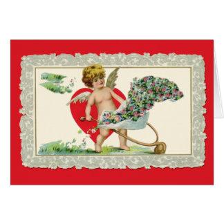 Schattige Vintage Cherubijn Valentijn Wenskaart