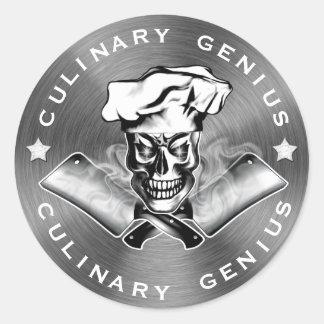 Schedel 3.1 van de chef-kok ronde sticker
