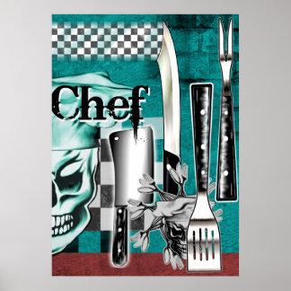 Schedel 4 van de chef-kok poster