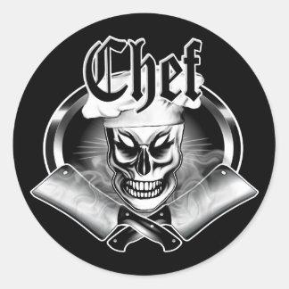 Schedel 4 van de chef-kok ronde sticker