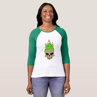 Schedel Bella+Canvas 3/4 Raglan van het Sleeve T Shirt