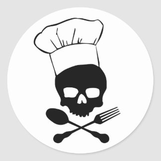 Schedel & de Chef-kok van Gekruiste knekels Ronde Sticker