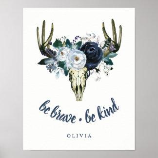Schedel en Blauwe Pioenen | van Boho Moedig zijn, Poster