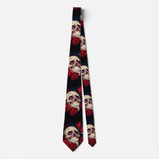 schedel en rood rozen mannen stropdas