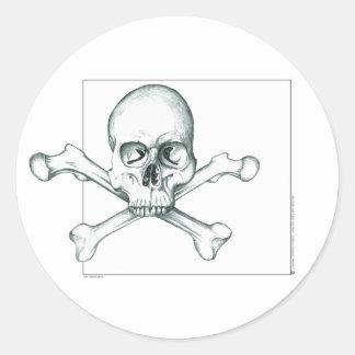 Schedel & het Gekruiste Bot van de Dij Ronde Sticker