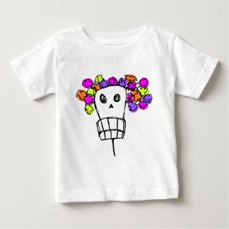 schedel met bloemen baby t shirts
