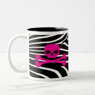 Schedel met Gestreepte Druk Tweekleurige Koffiemok