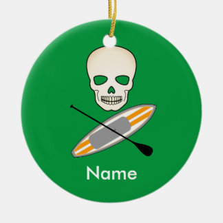 Schedel & Paddleboard Rond Keramisch Ornament