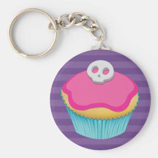 Schedel (roze) Cupcake - Keychain Basic Ronde Button Sleutelhanger