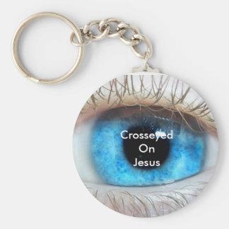 Scheel op (blauwe) Jesus Sleutelhanger