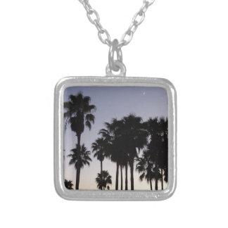 Schemer met de Tropische Scène van Palmen Zilver Vergulden Ketting
