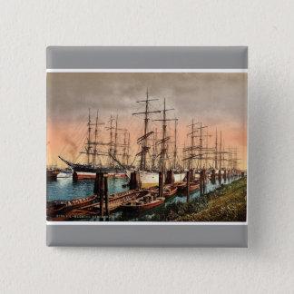 Schepen in de Haven, Hamburg, Duitsland zeldzame Vierkante Button 5,1 Cm