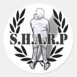 scherpe huid status ronde sticker