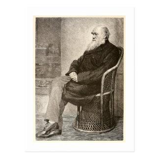 Schets van Charles Darwin, in 1891 wordt Briefkaart