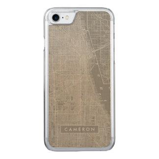 Schets van de Kaart van de Stad van Chicago Carved iPhone 8/7 Hoesje