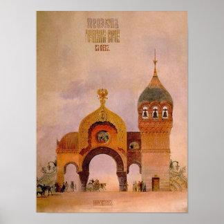 Schets van een poort in Kiev Poster