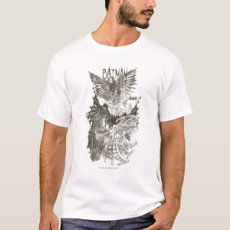 Schets van het Potlood van Batman de Grafische T Shirt