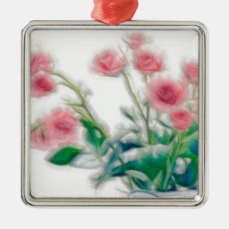Schets van Roze Boeket Zilverkleurig Vierkant Ornament