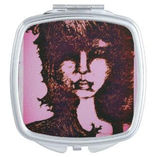 schetsmatig meisje make-up spiegel