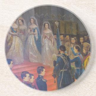 Schilderen van Tsarskoye Selo van het Paleis van Zandsteen Onderzetter