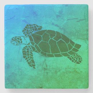Schildpad 2 van het zee op Blauwe en Groene Stenen Onderzetter