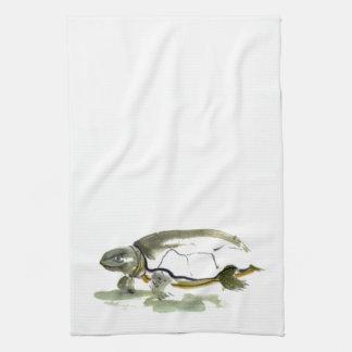 Schildpad, traditioneel sumi-E in kleur Theedoeken