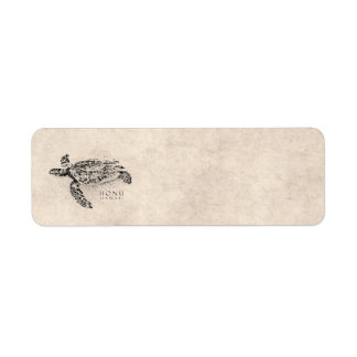 Schildpad van het Zee van Honu de Hawaiiaanse op Etiket