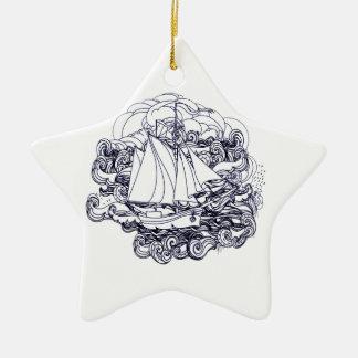 Schip dat in het Storm wordt geplakt Keramisch Ster Ornament