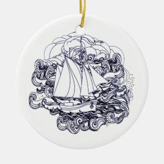 Schip dat in het Storm wordt geplakt Rond Keramisch Ornament