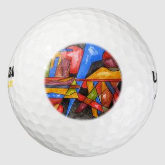 Schip-Hand twee schilderde Abstracte Geometrische Golfballen