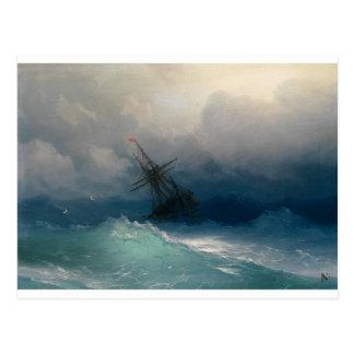 Schip op Stormachtige Zeeen, Ivan Aivazovsky - Briefkaart