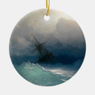 Schip op Stormachtige Zeeen, Ivan Aivazovsky - Rond Keramisch Ornament