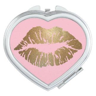 Schitter Hart van de Spiegel van de Kus het Roze Makeup Spiegeltje