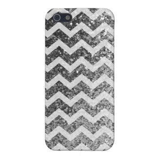Schitter (het zilveren) Patroon van de Chevron van iPhone 5 Hoesje