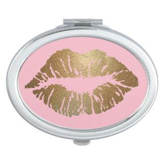Schitter Ovaal van de Spiegel van de Kus het Roze Makeup Spiegel
