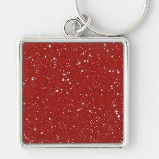 Schitter Sterren - Zilveren Rood Sleutelhanger