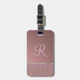 Schitter toenam Roze met Zilveren Monogram Bagagelabel
