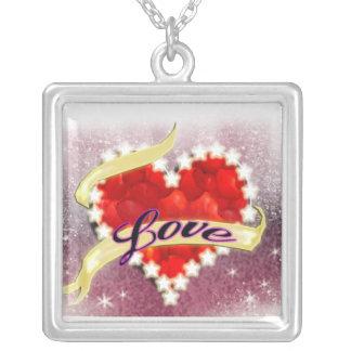 schitter valentijnskaart ketting vierkant hangertje