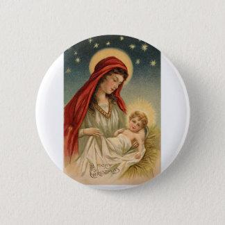Schitterende Vintage Mary met Jesus Ronde Button 5,7 Cm